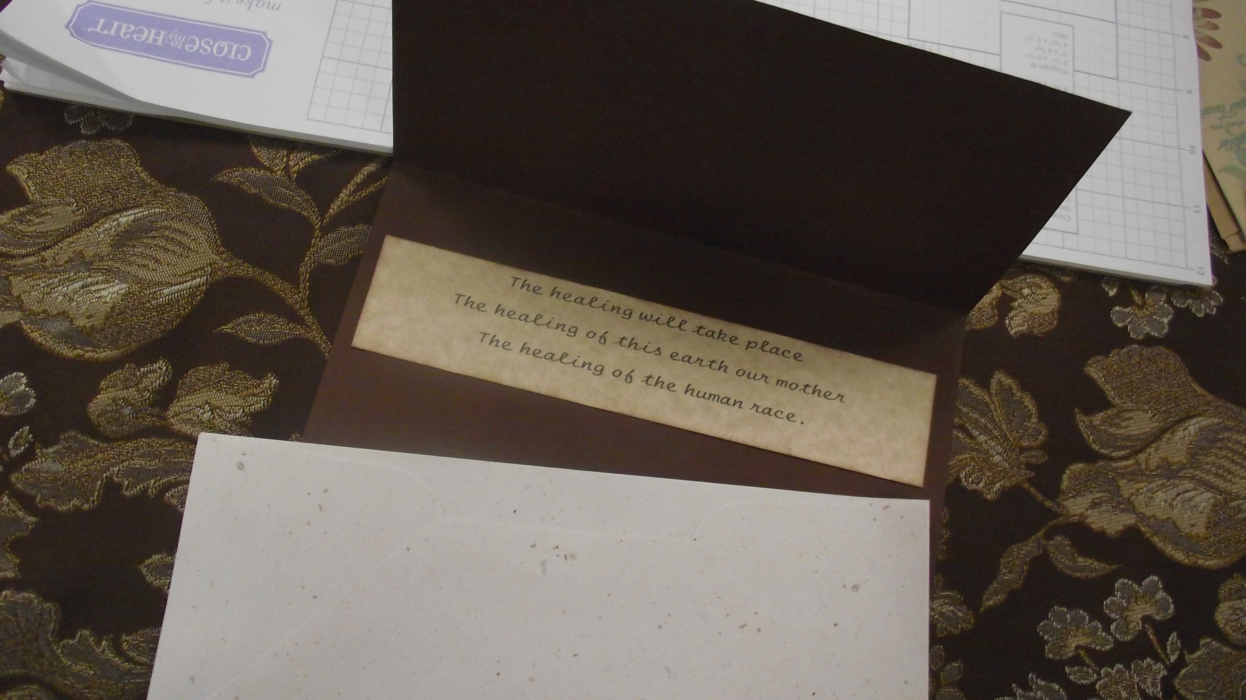 handmade card. lyrics by Denean -Fire Prayer