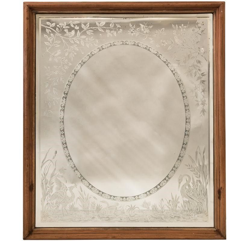 Antique Victorian Etched Mirror Decorative Collective