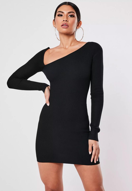 Black Asymmetric Neck Knitted Midi Dress Missguided Knit Midi Dress Knit Mini Dress Knit Outfit [ 1448 x 1000 Pixel ]