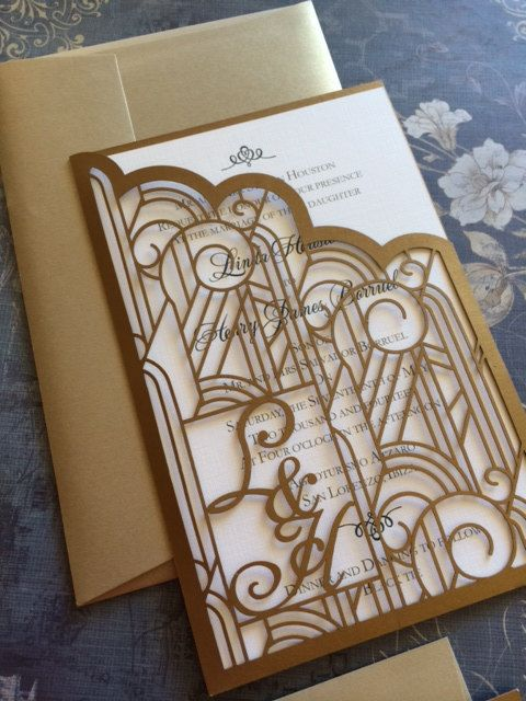 Laser Cut Wedding Invitations Monogram Art Deco Pocket Roaring 20s Custom Personalized