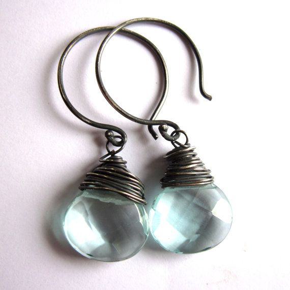 Sterling Silver Earrings Wire Wrapped Aqua Quartz Faceted Fashion Jewelry