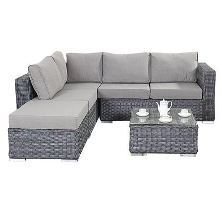 Bonsoni Small Corner Sofa Colour Grey Consists Of Two Modular Seater Sofas And A Footstool Rattan Garden Furniture