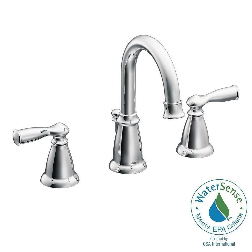 MOEN Banbury 8 in. Widespread 2-Handle High-Arc Bathroom Faucet in ...