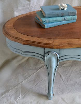 Robins Egg Blue French Furniture Oval Provincial Coffee Table Books