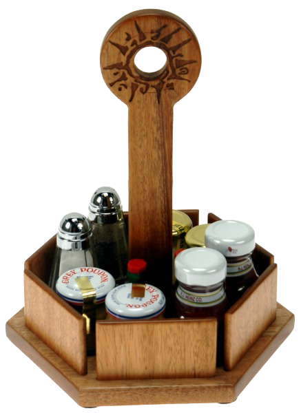 Delicieux Table Top Accessories, Cuatom Caddy, Ritz Carlton, Solid Mahogany Six Sided  Condiment Caddy, Laser Engraved Artwork