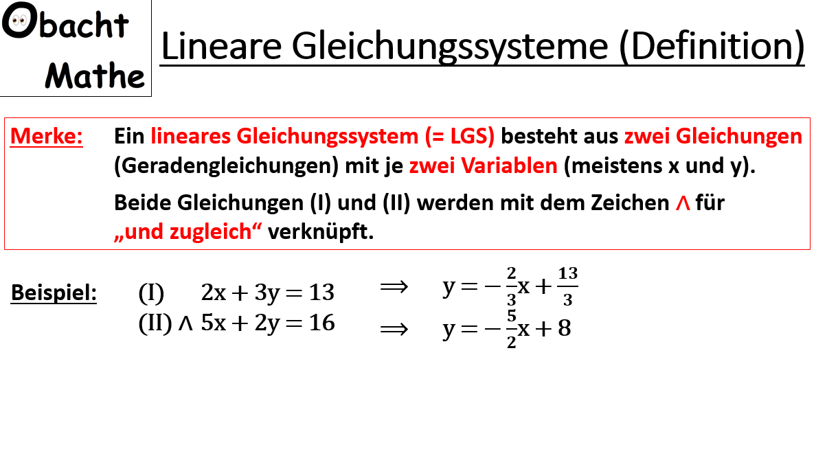 Was Sind Lineare Gleichungssysteme Was Ist Ein Lgs Lineare Gleichungssysteme Mit 2 Unbekannten Gleichungssysteme Gleichung Und Mathe