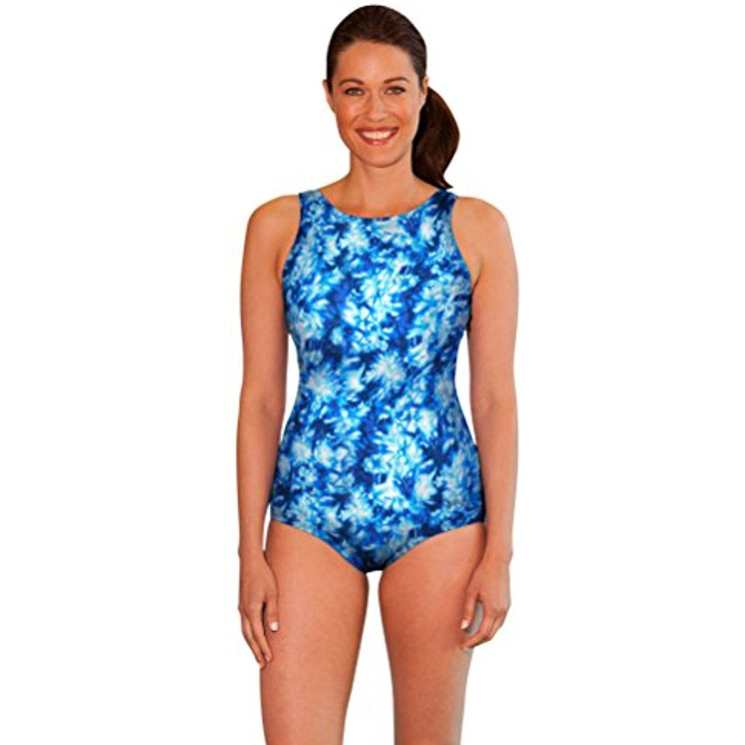 a8a32efbc96cf Chlorine Resistant Aquamore Aqua High Neck One Piece Swimsuit   You can get  more details by clicking on the image. (This is an affiliate link)  Swimming