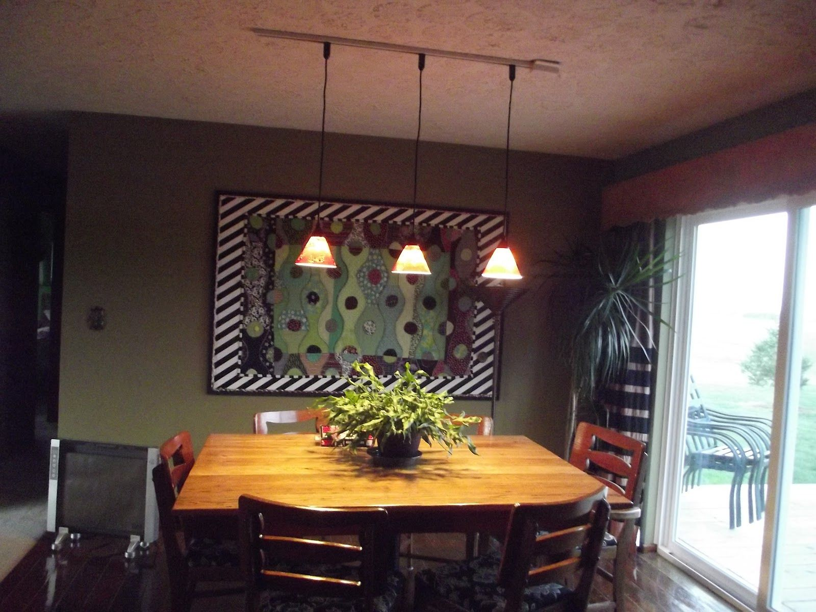 painting of track lighting with pendants dining room - Track Lighting Over Dining Room Table