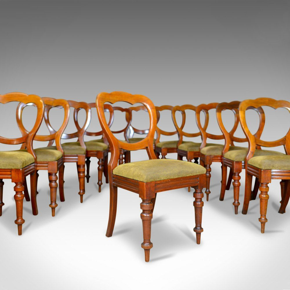 Long Set Of 12 Antique Dining Chairs