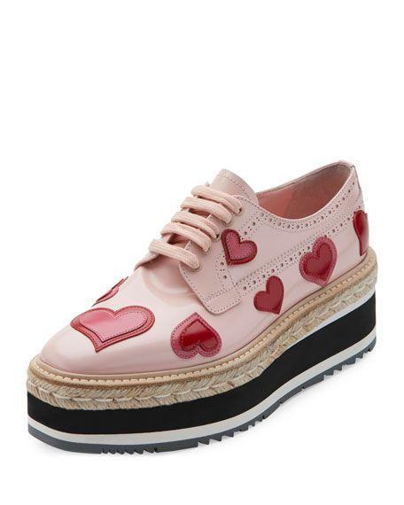 dadb2603610ac PRADA Microsole Heart Platform Espadrille Sneaker