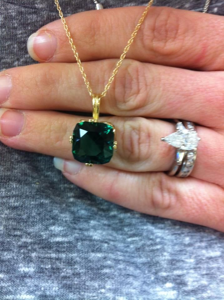 Lab created emerald pendant set in 14k yellow gold featured lab created emerald pendant set in 14k yellow gold mozeypictures Image collections