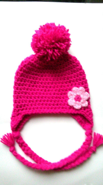 Bonnet bebe fille ,bonnet bébé pompon en laine fait main au crochet   Mode  Bébé par chtiewie 5b2fb0119d7