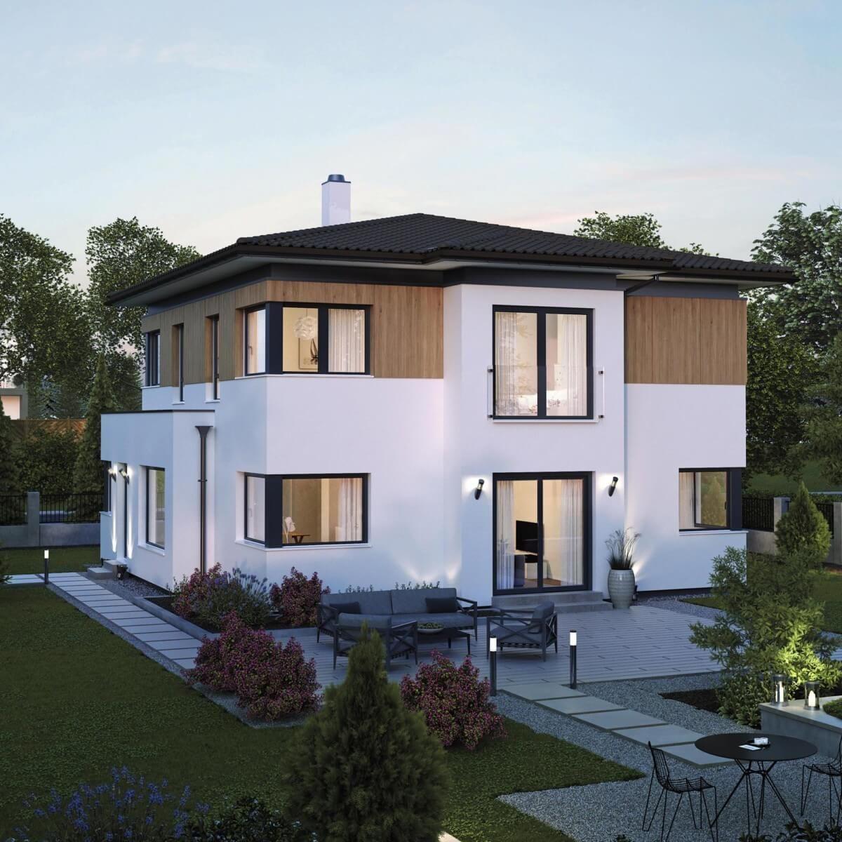 Stadtvilla Neubau modern mit Walmdach Architektur & Holz