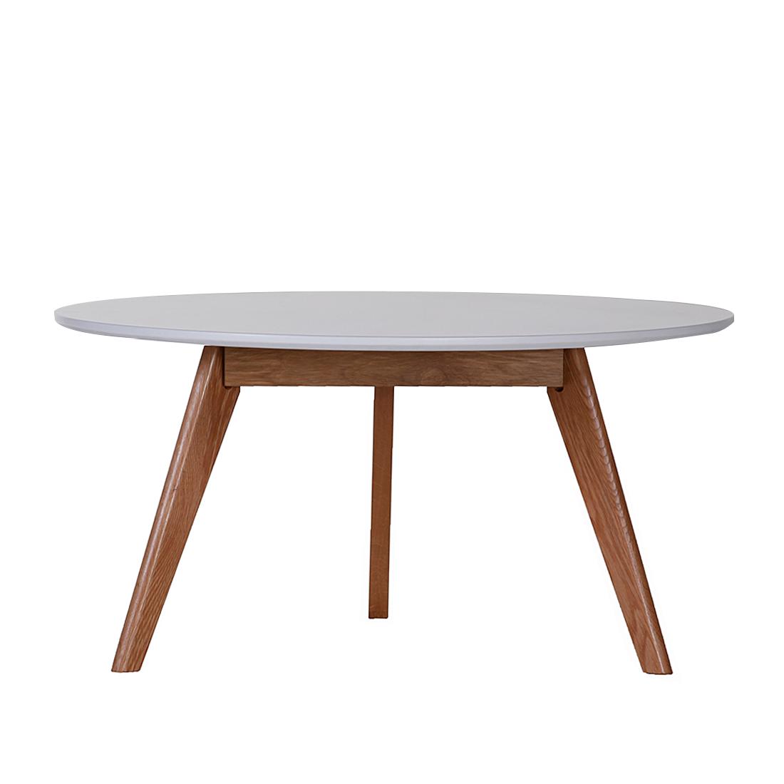 Couchtisch Massivholz Eiche Tisch Weiss Lackiert Retro Beistelltisch Wohnzimmer
