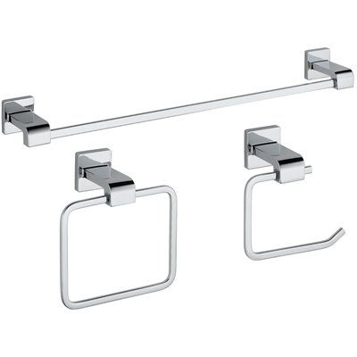 Delta Piece Ara Chrome Decorative Bathroom Hardware Set - Delta bathroom hardware