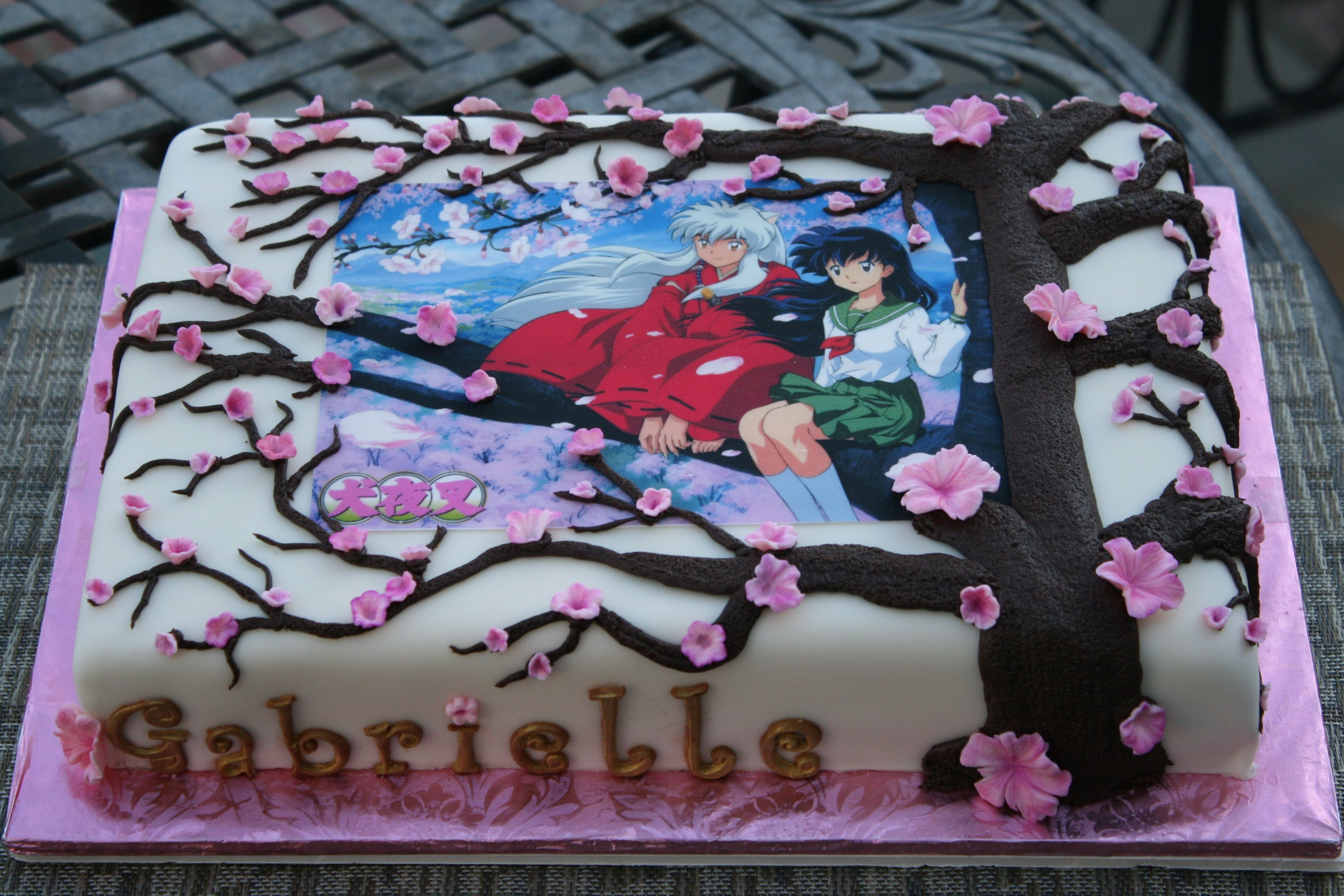 Inuyasha Japanese Anime Cake Chocolate Cake With Cherry Filling