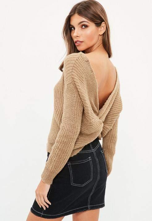 e83850f52746 Missguided Petite Brown Fluffy Yarn Twist Back Sweater