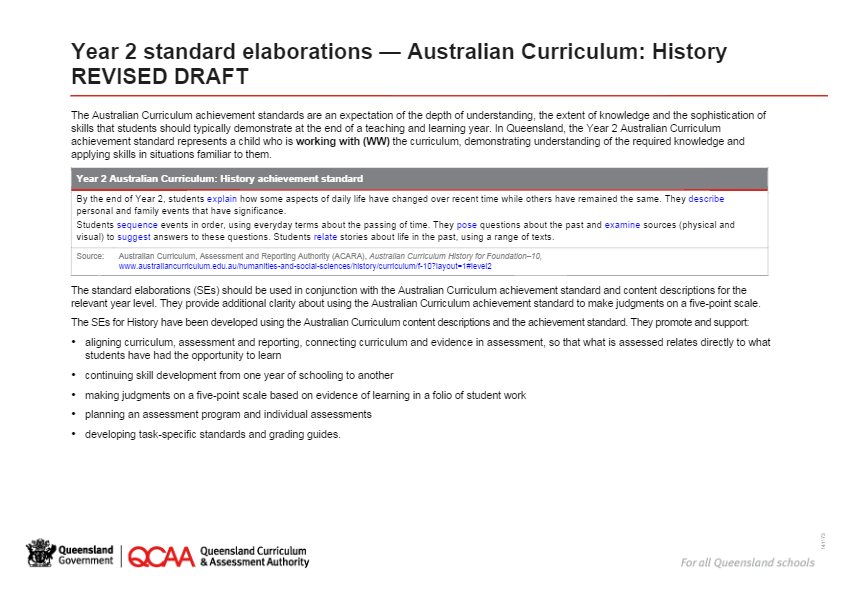Year 2 History standard elaborations Australian