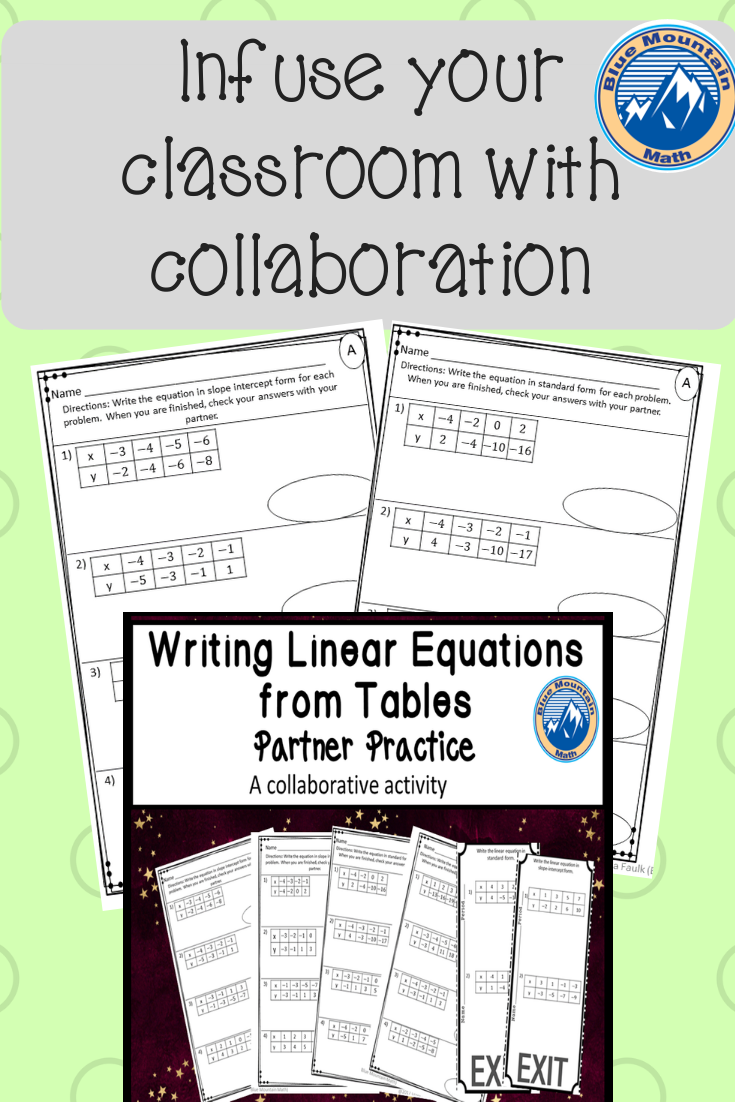 Ctice Writing Linear Equations From Tables In 2 Diffe Pairs Of Collaborative Worksheets For Students Complete