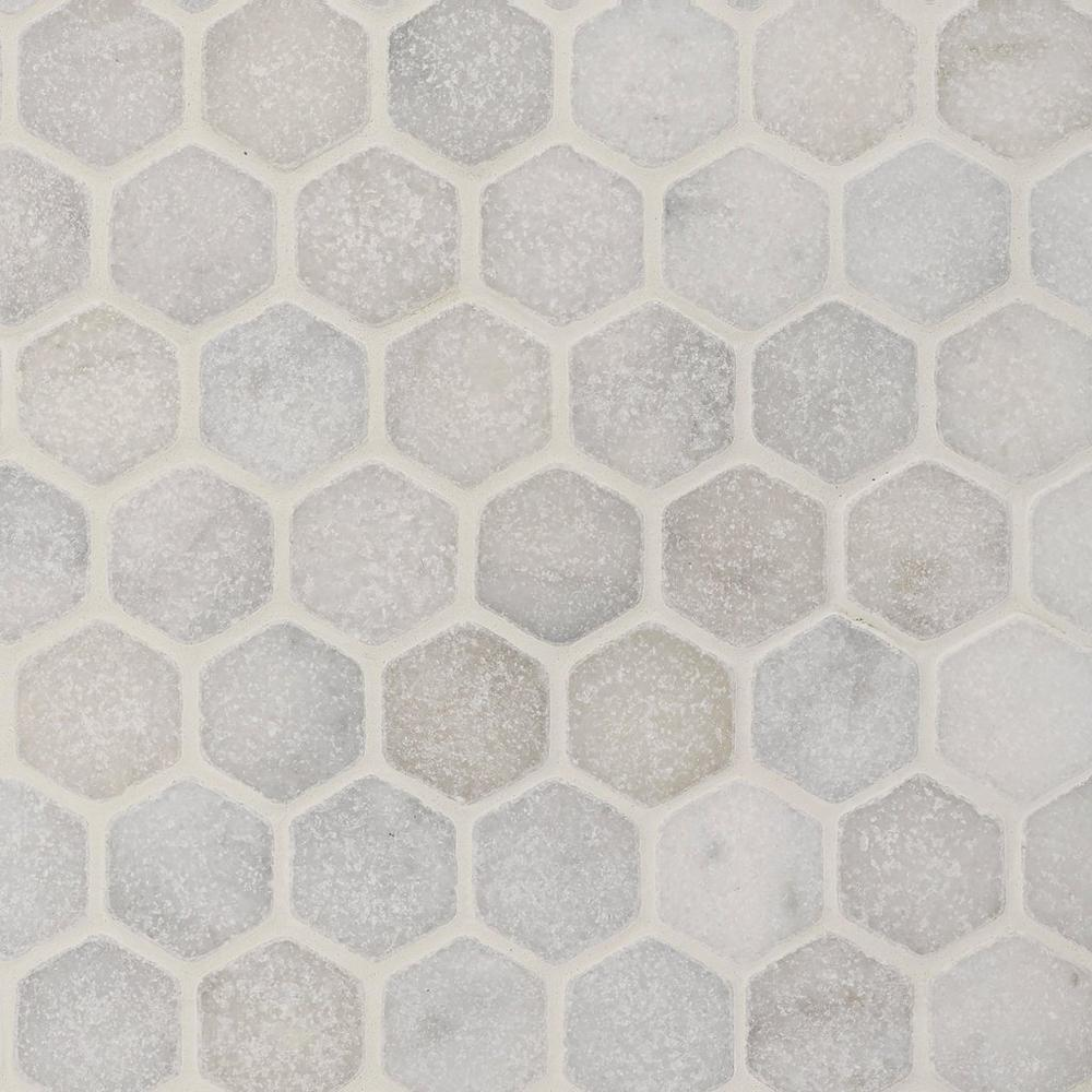 Carrara Chateau 2 In Hexagon Tumbled Marble Mosaic In 2020 Marble Mosaic Decorative Tile Polished Marble Tiles