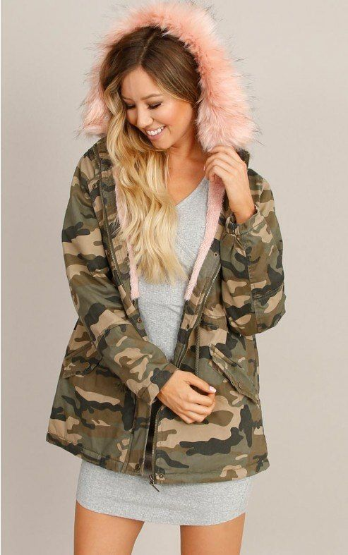 e7bfc39a9dc5e CI SONO PINK FAUX FUR CAMOUFLAGE JACKET | New Arrivals! | Camouflage ...