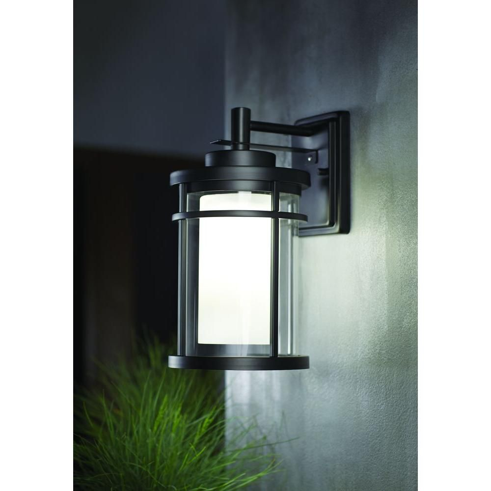 Home Decorators Collection Black Outdoor Led Wall Lantern Sconce Dw7178bk The Home Depot Black Outdoor Wall Lights Wall Lantern Led Exterior Lighting