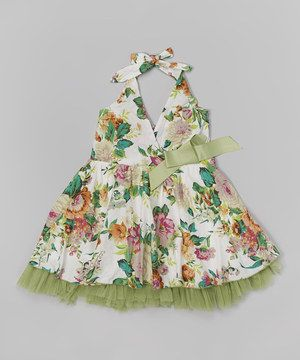 This Green Verdant Floral Halter Dress by Richie House is perfect! #zulilyfinds
