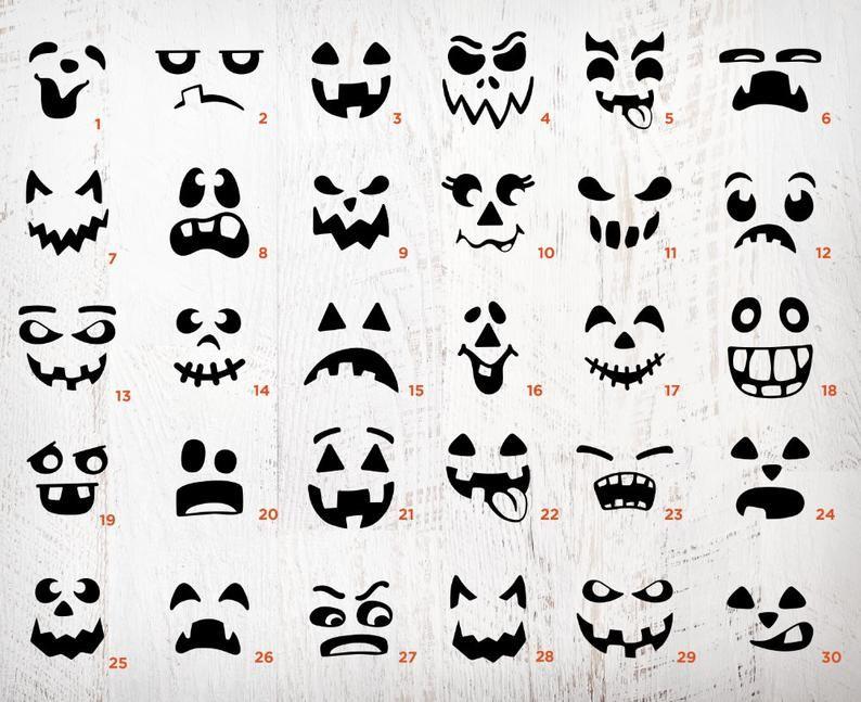 Pumpkin Face SVG Bundle Jack O Lantern Faces PNG Bundle Cute Halloween Faces SVG Pumpkin Clip Art Pack Instant Download Svg Cricut Files