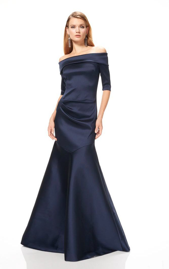 THEIA COUTURE OFF THE SHOULDER BLUE EVENING GOWN. #theia #cloth ...