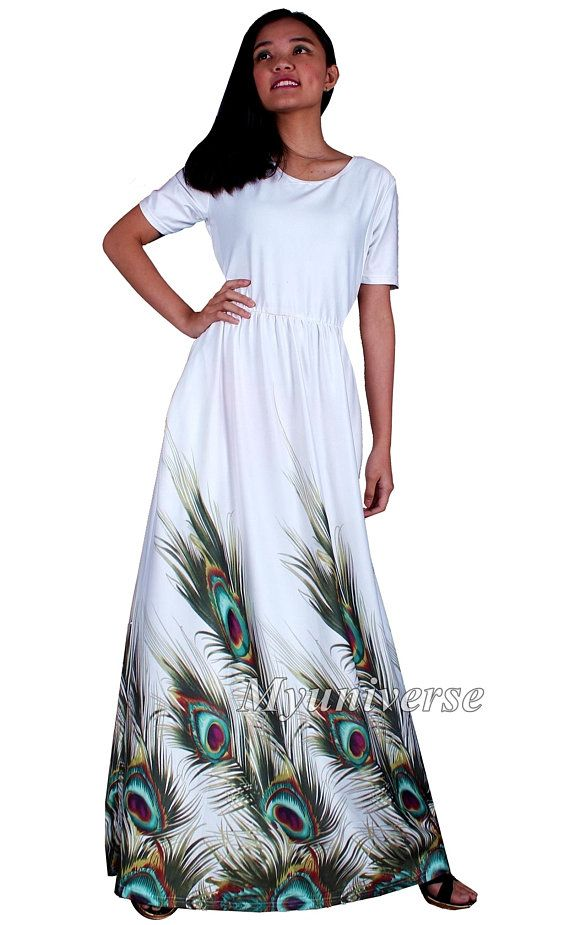 955ec816d1c White Peacock Maxi Dress Plus Size Clothing Wedding Guest Party Summer Floral  Casual A Line Short