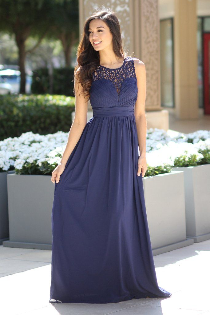 Navy Crochet Maxi Dress | Navy bridesmaids, Wedding bells and Wedding