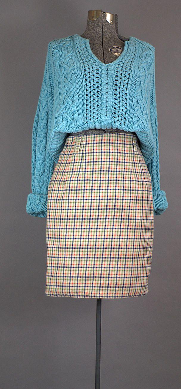 Collegiate Preppy Plaid #VintageDenim kirt. #PaulHarrisVintage Denim Skirt   #Skirt #vintageskirt