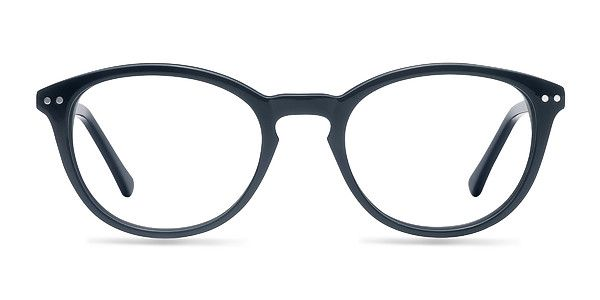Stay true to style with these navy eyeglasses. This classic frame comes in a glossy deep blue acetate throughout with oval shaped lenses. Modern details like a keyhole nose bridge and double stud accents finish this fashionable look that is universally flattering. @EyeBuyDirect