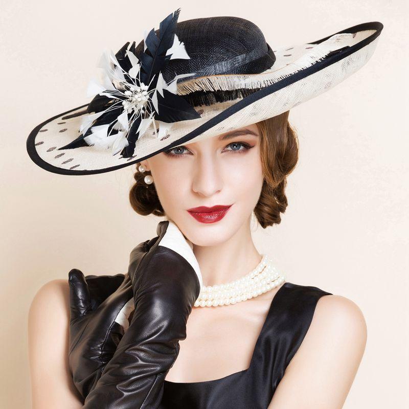 f0df44d08da New Women s Kentucky Derby Church Wedding Noble Dress hat linen feather hat  in Clothing