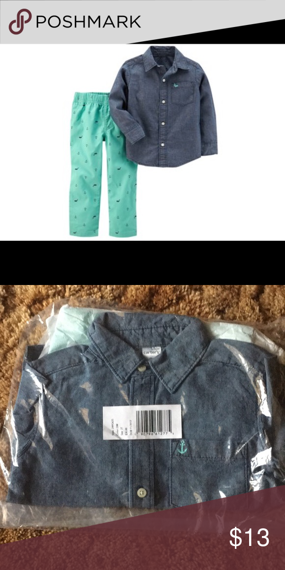 04971ff65 Toddler Boy Carter's Chambray Shirt & Pants Set 2-piece set includes:  shirt