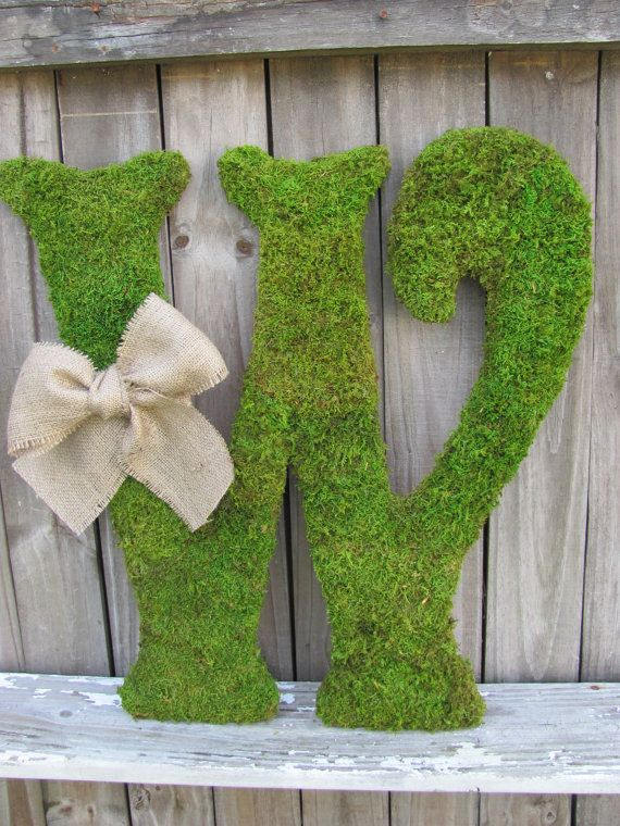 Large Moss Covered Letter W / Rustic Wedding Sign by VintageShore, $75.00