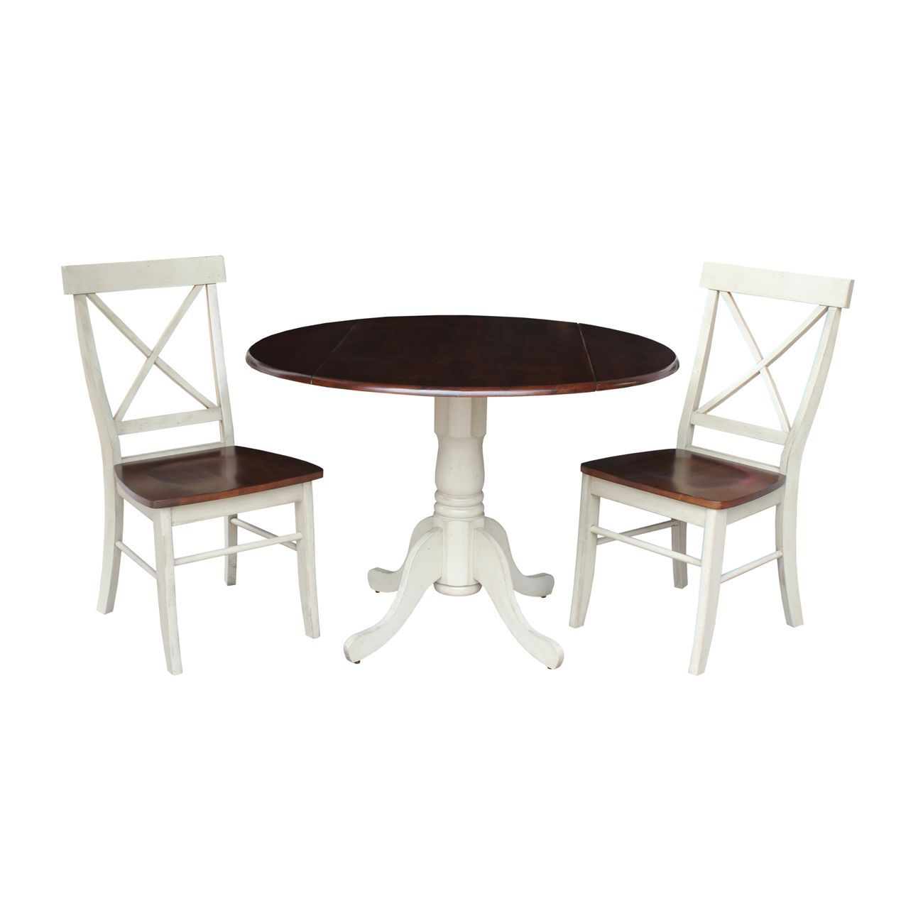 Set of 3 pcs 42 dual drop leaf table with 2 x back chairs set of 3 brown size 3 piece sets