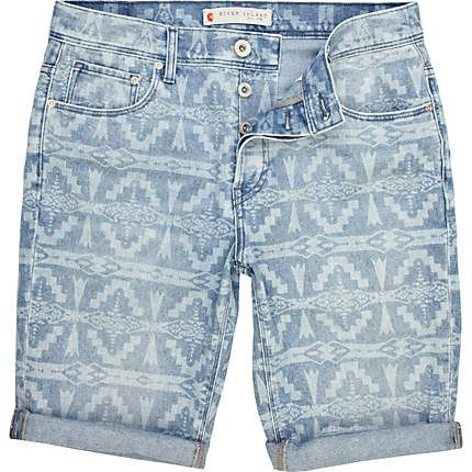 blue navajo print denim shorts - shorts - sale - men - River ...