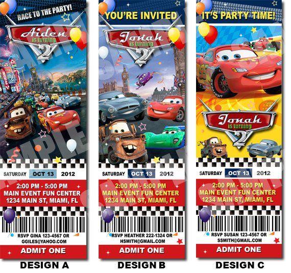 Disney Cars Birthday Ticket Invitation - Printable Disney Cars - ticket invitation template