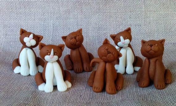 Set of 6 cat kitty   fondant toppers by XbakesbyXimena on Etsy, $33.00