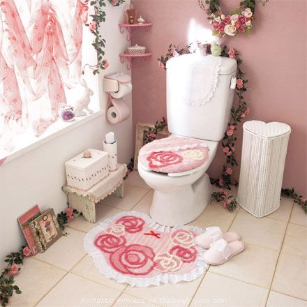 Beautiful Romantic Bathrooms hime gyaru romantic princess pink flower cute toilet seat, mat