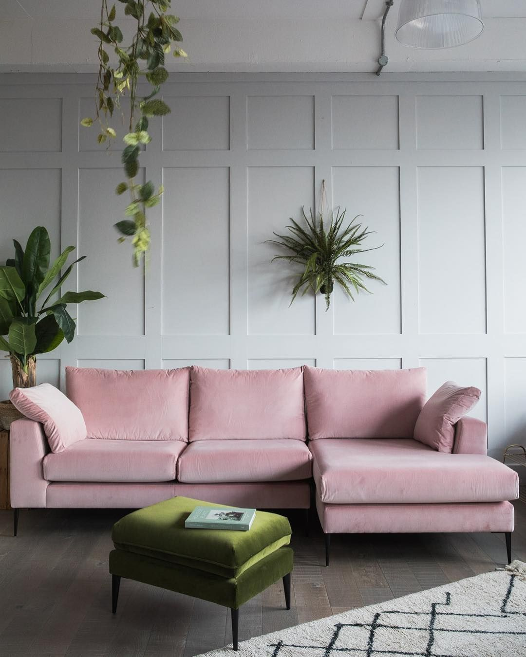 Epsom Corner Sofa In Dusty Pink Velvet Broughton Ottoman Rose Grey Pink Couch Living Room Pink Sofa Living Room Pink Sofa Living