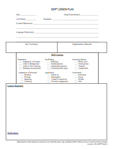HereS A Helpful Siop Lesson Plan Template  Siop Resources