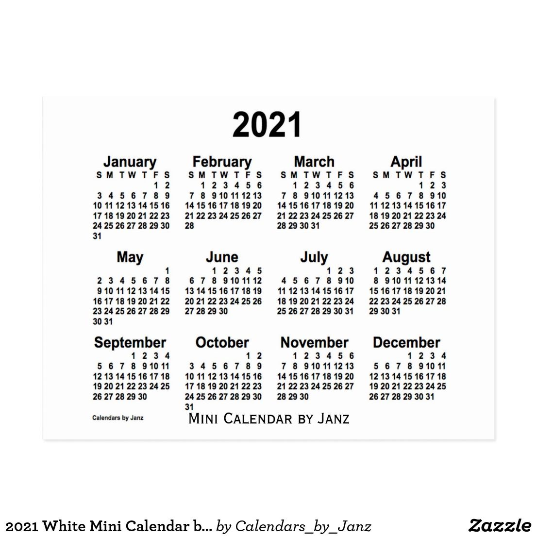 Printable Small 2021 Calendar 2021 White Mini Calendar by Janz Postcard | Zazzle.| Mini