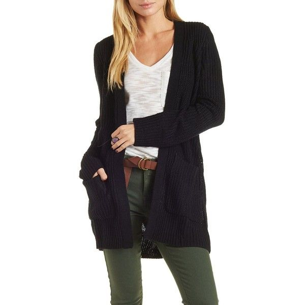 7d76234d5e Charlotte Russe Black Shaker Stitch Knit Cardigan Sweater by Charlotte...  ( 25)