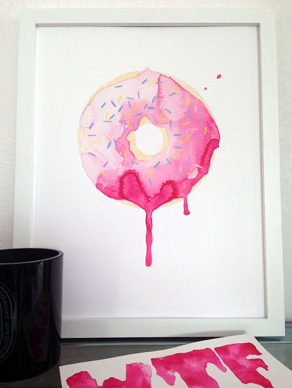 Glazed Watercolor Print 11 x 14 pink donut by THEAESTATE on Etsy