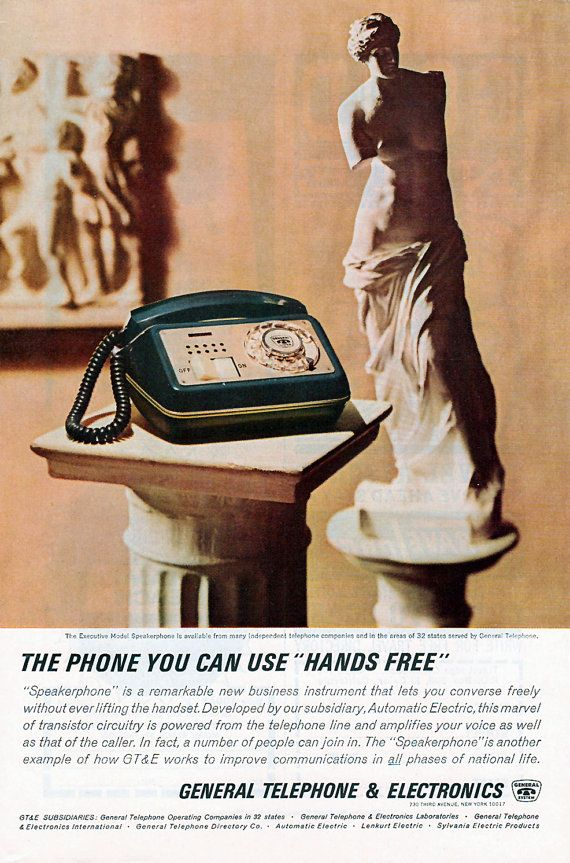"General Telephone & Electronics Venus de Milo ""hands free"" Ad ..."
