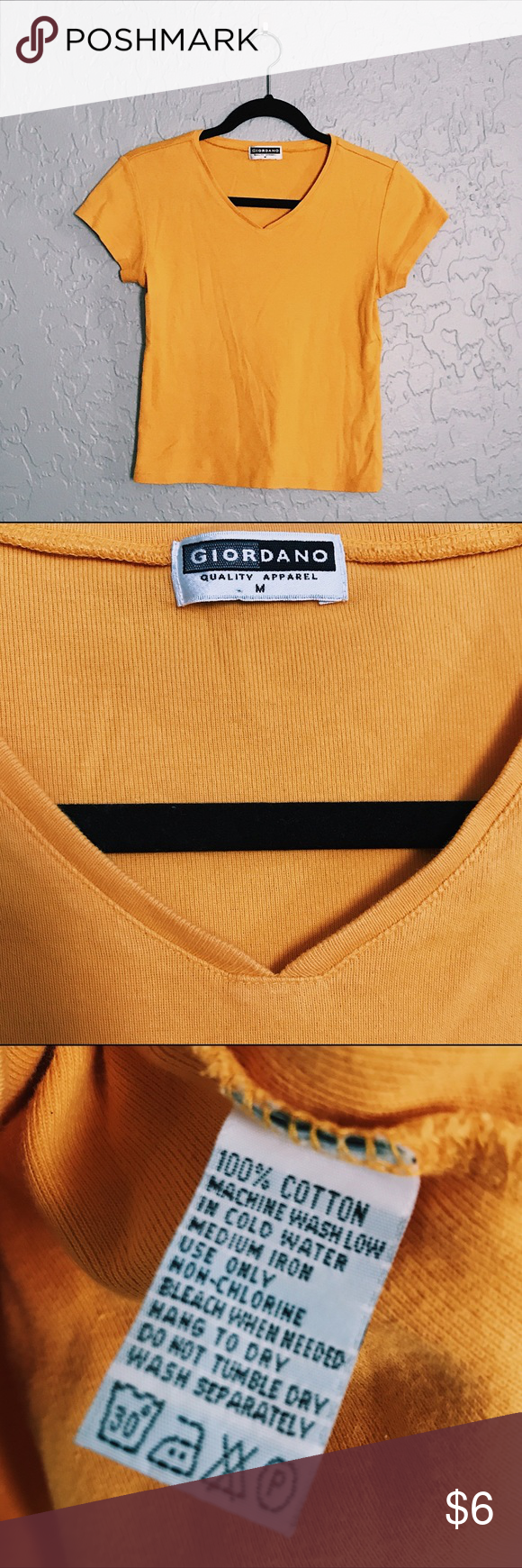 2626c59b3929c Giordano Mustard Yellow V-Neck Shirt This sunny shirt can go well with any  neutral colored bottom
