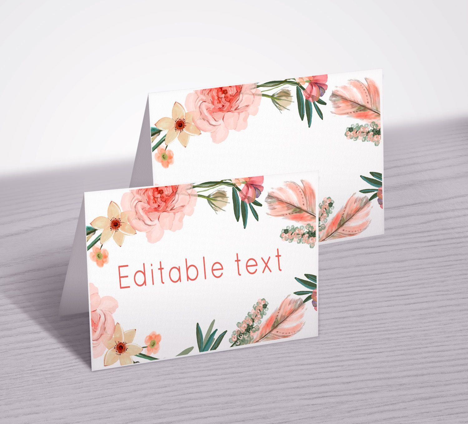 Printable Food Tent Cards Fl Labels Folded Buffet Editable And Blank Table Tents Peachbaby12 De Thepartybunch En Etsy