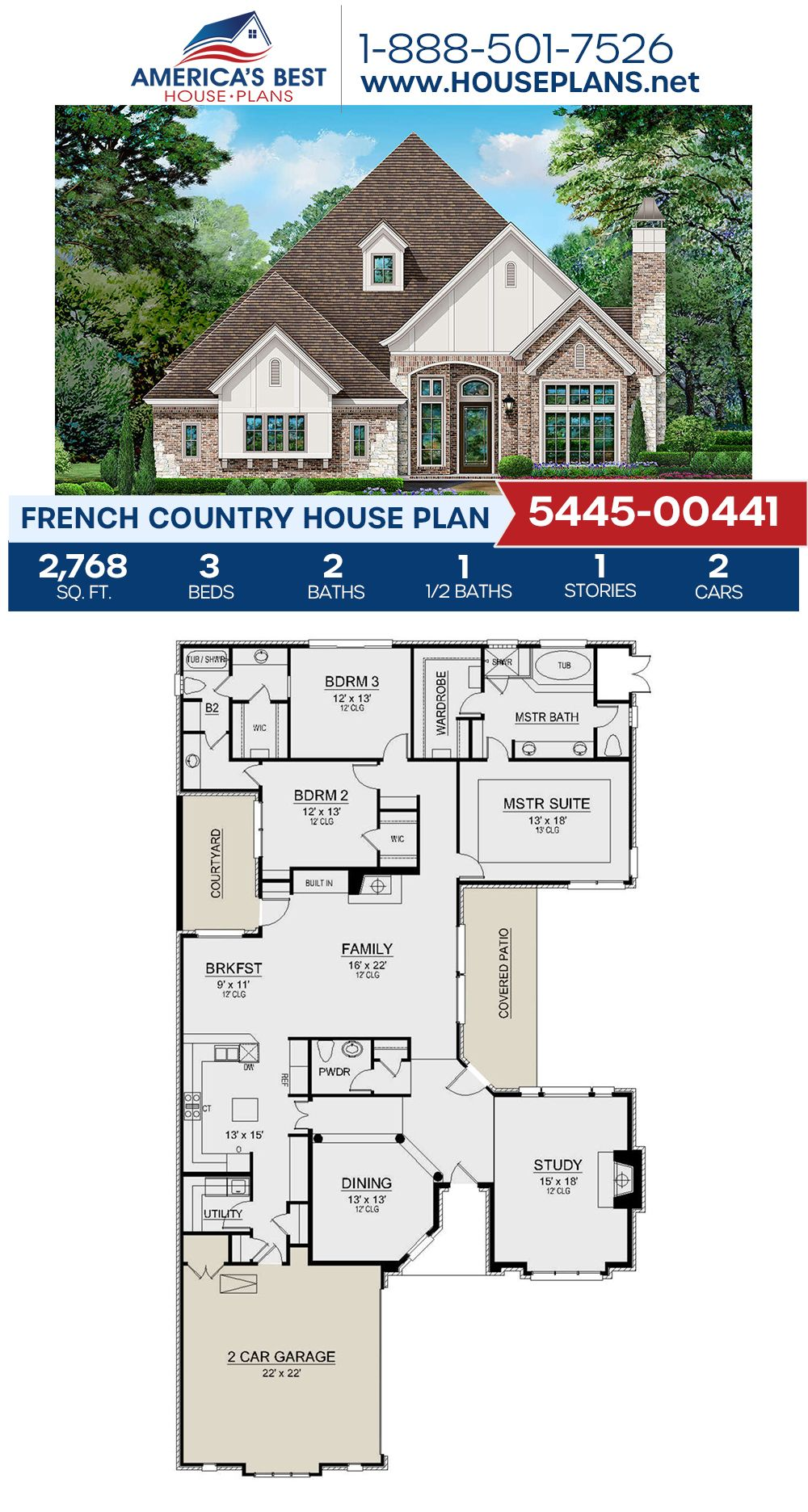 House Plan 5445 00441 French Country Plan 2 768 Square Feet 3 Bedrooms 2 5 Bathrooms French Country House Plans French Country House House Plans